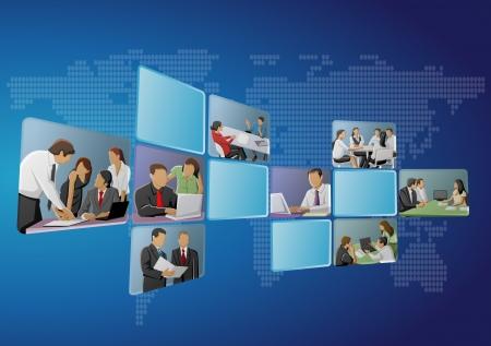 kollegen: Blau Vorlage mit Gesch�ftsleuten auf Bildschirmen