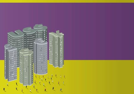 Purple and yellow template of money symbols city with business people for advertising brochure  Vector
