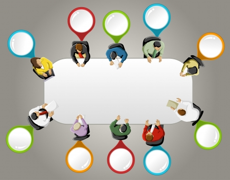 office plan: Group of business people working in office table with colorful pointers