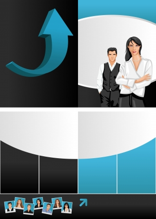 Blue template for advertising brochure with business people Stock Vector - 16932896