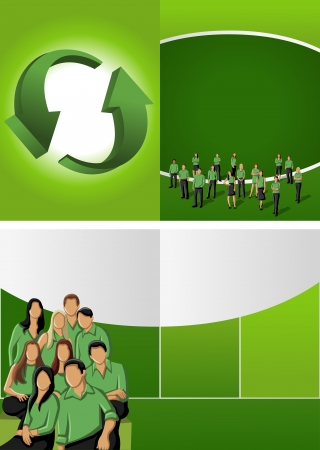 Green template for advertising brochure with business people Stock Vector - 16932899