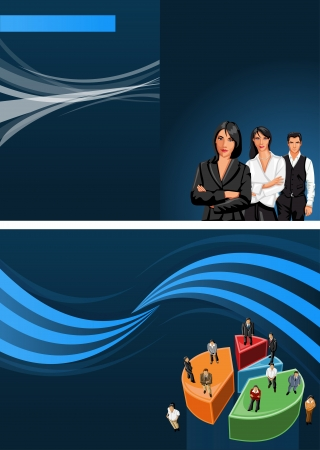 coworker banner: Blue template for advertising brochure with business people