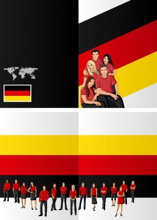 german flag: German flag template for advertising brochure with people