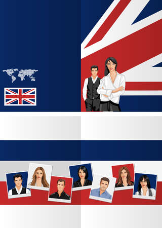 British flag template for advertising brochure with people  Vector