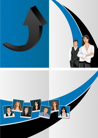 Blue template for advertising brochure with business people Stock Vector - 16932895