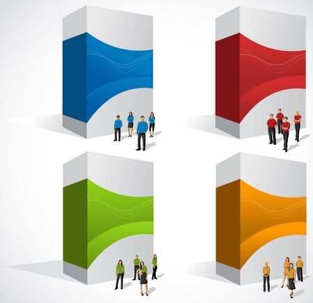 office product: Colorful boxes with business people