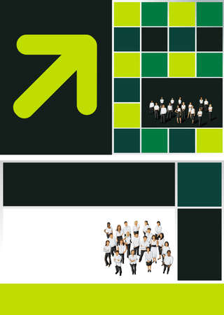 Green, yellow and black template for advertising with business people Stock Vector - 16932901