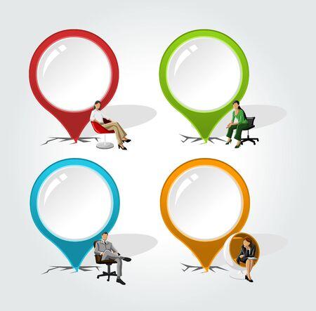 chair vector: Puntatori colorati con gli uomini d'affari su etichetta freccia vettore sedia Vettoriali