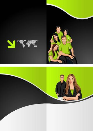 brochure layout: Green and black template for advertising with business people