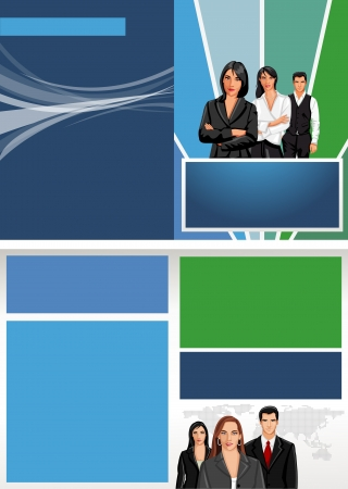 Green and blue template for advertising brochure with business people Stock Vector - 16932885