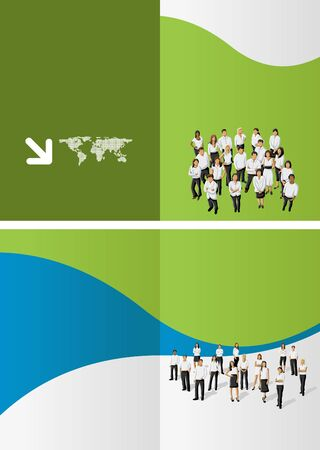 Green and blue template for advertising brochure with business people Vector
