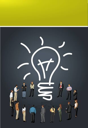 coworker banner: Yellow and black template for advertising brochure with business people having a idea