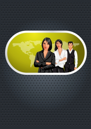 coworker banner: Green lime and black template with a group of business people