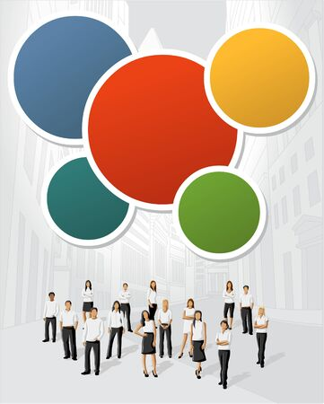 magazine page: Colorful template for advertising brochure with business people on the city  Illustration