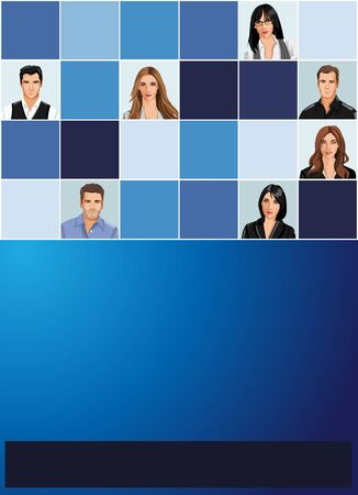 cover page: Blue template for advertising brochure with business people