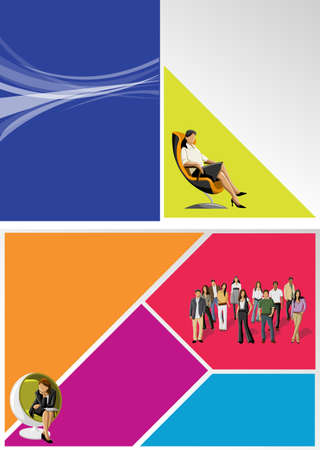 brochure layout: Colorful template for advertising brochure with business people  Illustration