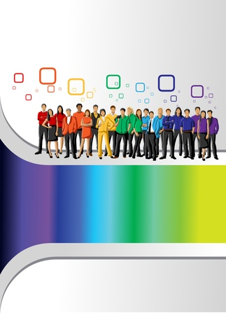 corporate culture: Colorful template for advertising brochure with rainbow colors people