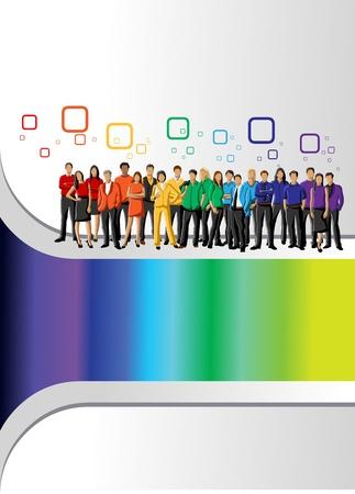Modelo colorido para el folleto publicitario con colores del arco iris personas Ilustración de vector