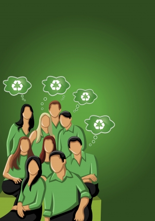 commercial recycling: Green template for advertising brochure with business people