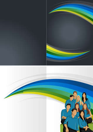 coworker banner: Blue, green and black template with business people