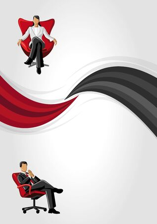 Red and black template with business people  Vector
