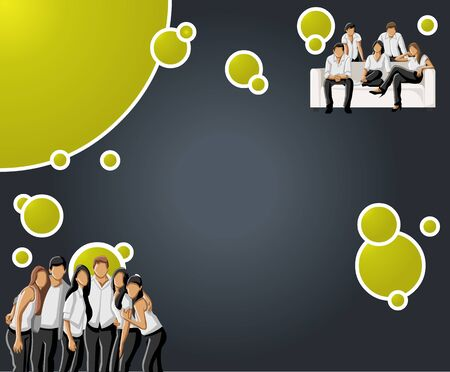 Green lime and black template with business people  Vector