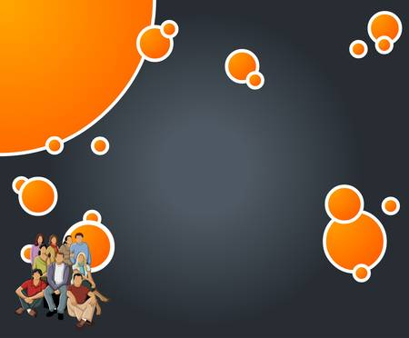 Orange and black template with business people Vector