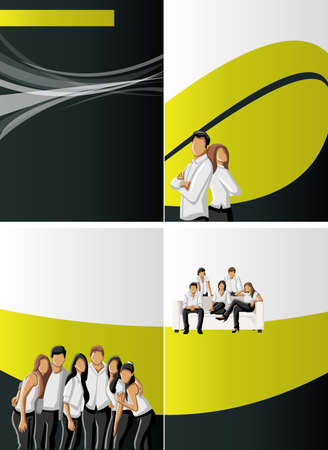 Yellow and black template with business people Vector