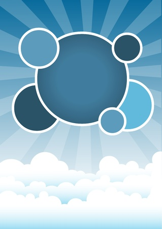 Blue template for advertising brochure with clouds on the sky  Stock Vector - 16936258