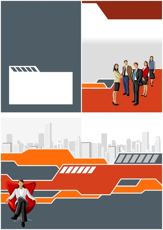 Red and gray template with business people Stock Vector - 16936136