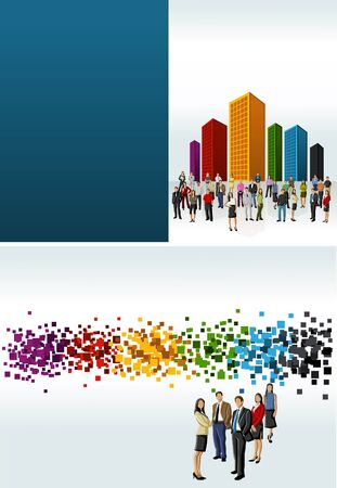 company building: Colorful template for advertising brochure with people in a colorful city  Illustration