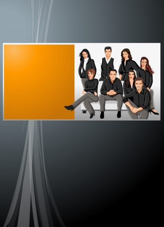 coworker banner: Black and orange template with business people