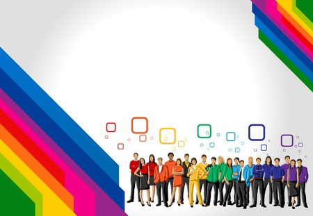equal to: Colorful template for advertising brochure with rainbow colors people