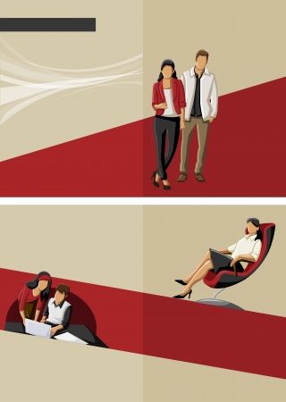 Red template for advertising brochure with business people Vector