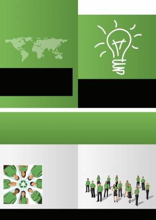 Green template for advertising brochure with business people Vector