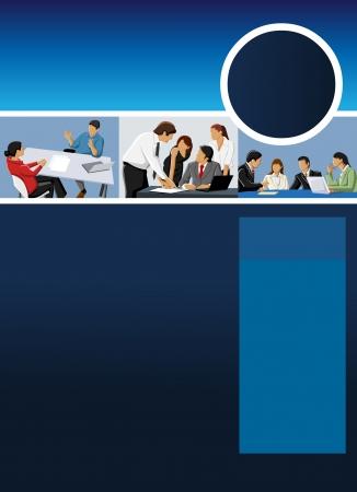 kollegen: Blau Vorlage f�r Werbebrosch�re mit Kaufleuten Illustration