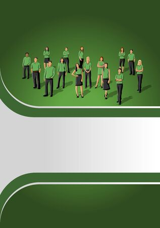 Green template for advertising brochure with business people Stock Vector - 16936151