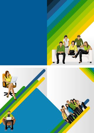 Yellow, green and blue template for advertising brochure with students  Vector