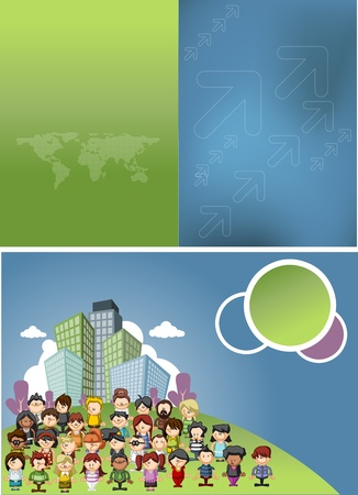 corporate people: Blue and green template for advertising brochure with cartoon people on the city