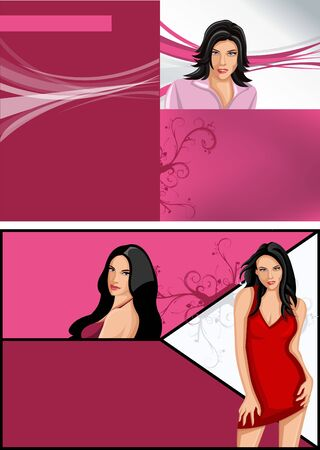 Pink template for advertising brochure with beautiful women  Vector