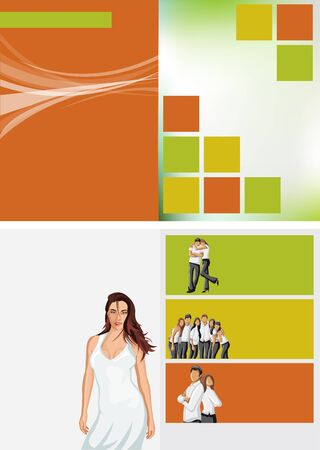 Yellow, orange and green template for advertising brochure with woman in white dress Stock Vector - 16936142