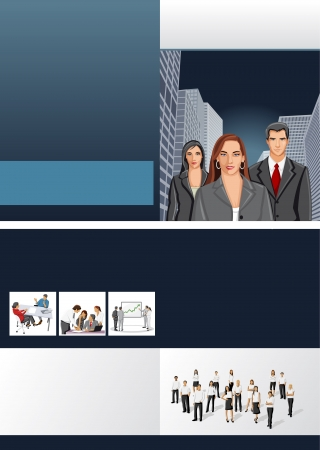 Blue template for advertising brochure with business people Stock Vector - 16936109