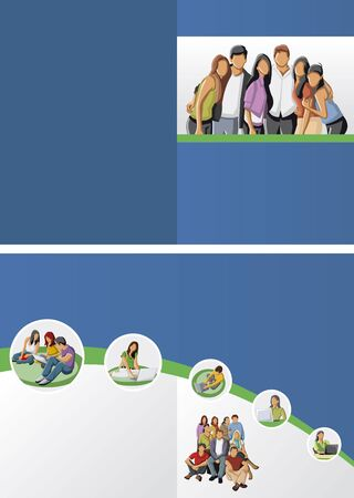 Blue and green template for advertising brochure with students Vector