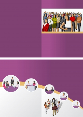Purple template for advertising brochure with business people Vector