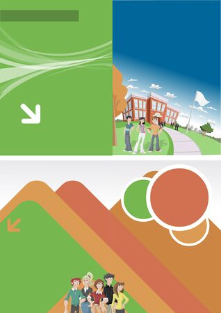 education background: Orange and green template for advertising brochure with students in front of school  Illustration