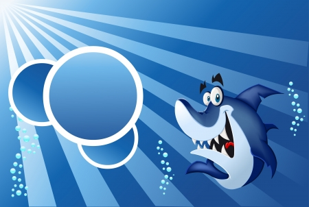 Template for advertising brochure with funny cartoon blue shark swimming in blue ocean  Vector