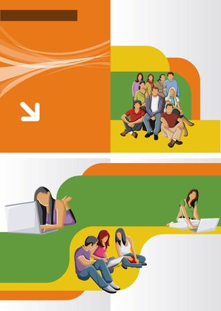 college students: Yellow, orange and green template for advertising brochure with students Illustration