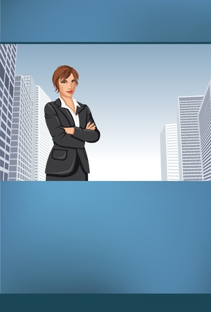 Blue templates for advertising brochure with business woman Vector