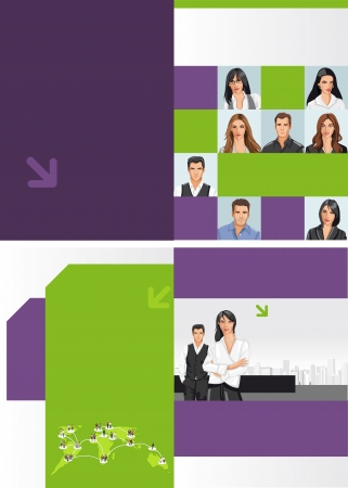 cover page: Template for advertising brochure with business people