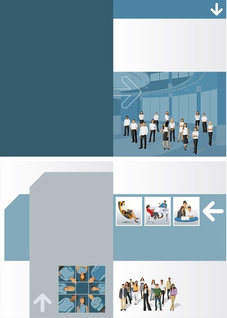 layout design: Template for advertising brochure with business people
